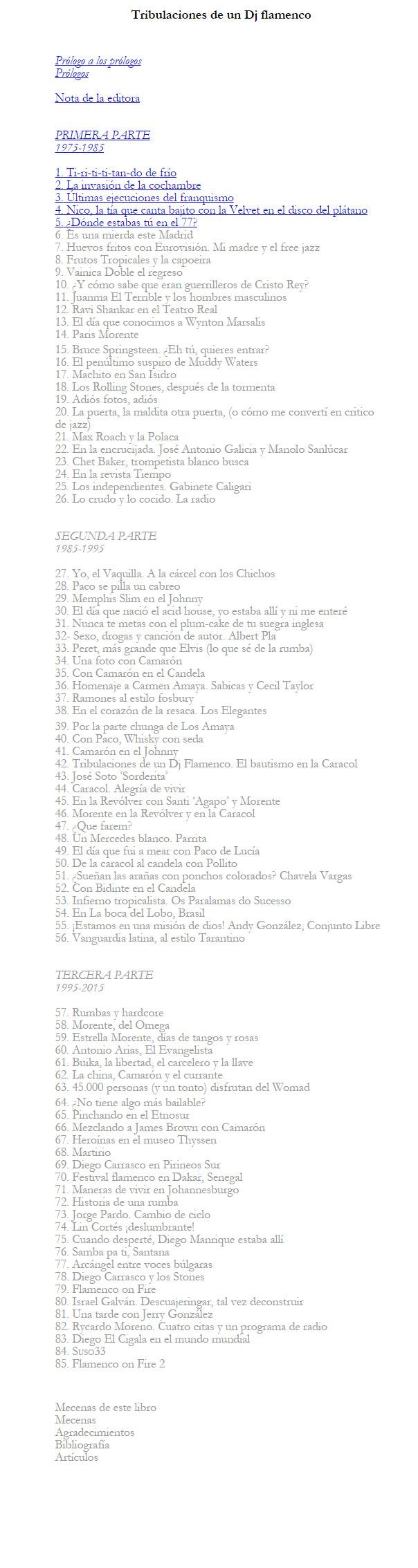 Tribulaciones de un D.J. Flamenco (indice)