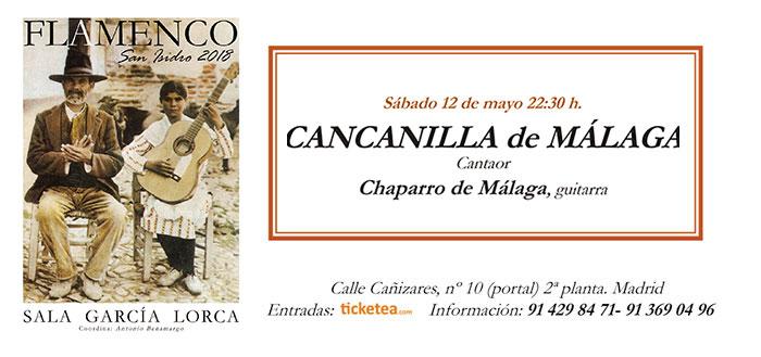 Tarjeta Cancanilla de Málaga - San Isidro Flamenco 2018