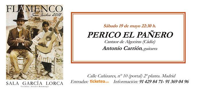 Tarjeta Perico el Pañero - Tarjeta Rocio Diaz - San Isidro Flamenco 2018