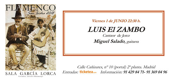 Tarjeta Luis el Zambo San Isidro Flamenco