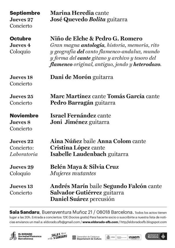El Dorado - Sociedad Flamenca Barcelonesa / Septiembre-Diciembre 2018