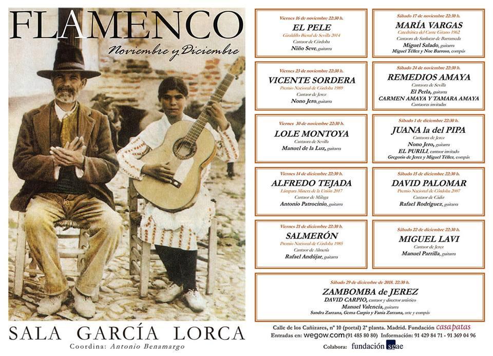 Programación Sala García Lorca, Noviembre-Diciembre 2018