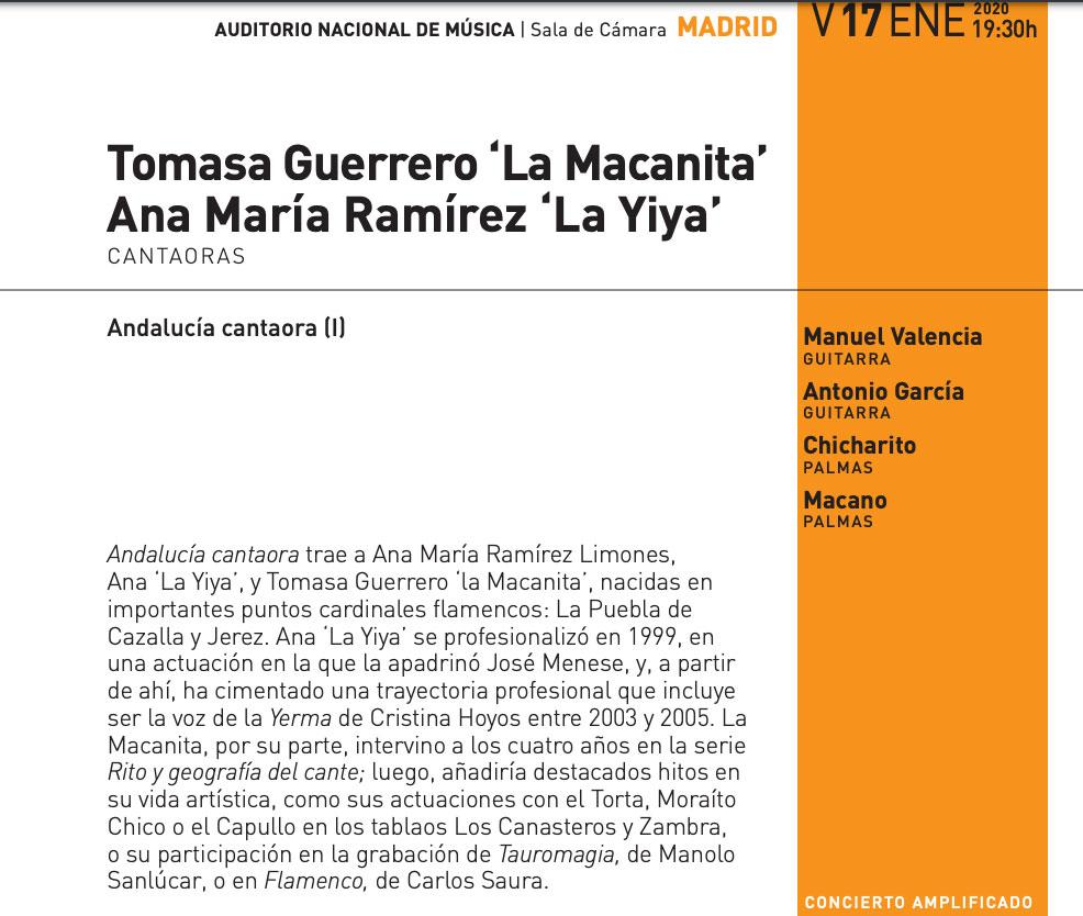 Macanita, La Yiya - Auditorio Nacional