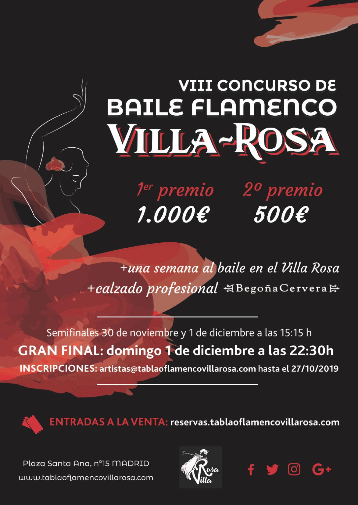 Concurso de Baile Flamenco en el Tablao Villa Rosa 2019