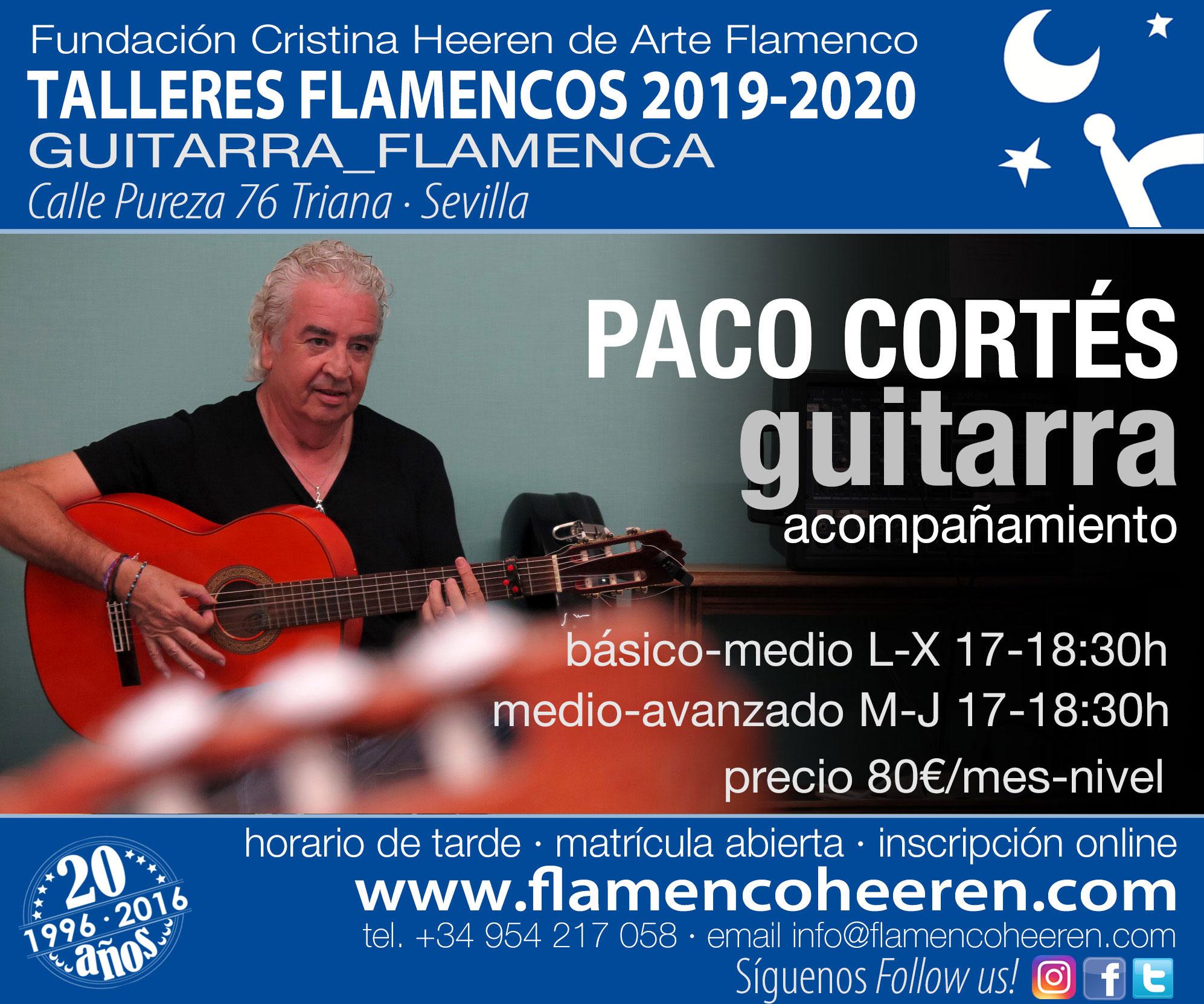 Paco Cortés, guitarra acompañamiento. Talleres flamencos Fundación Cristina Heeren