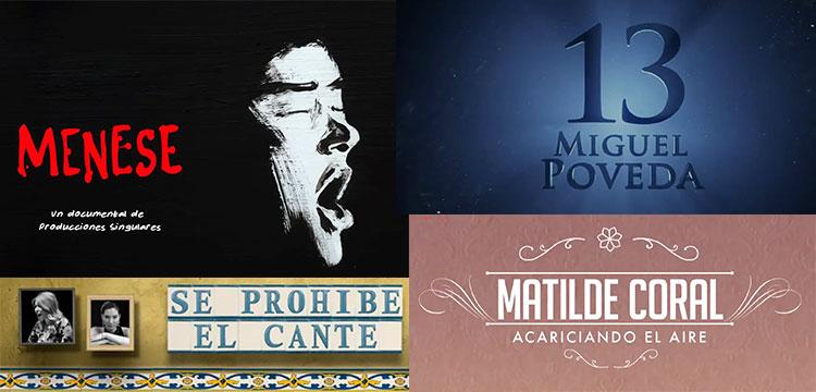 """Documentales flamencos en abierto, """"Menese"""", """"13 – Miguel Poveda"""" """"Acariciando el aire. Matilde Coral"""" entre otros"""